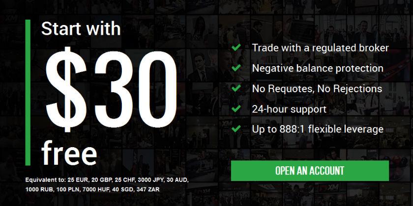 XM bonus thưởng 30$ cho khách hàng mới mở tài khoản
